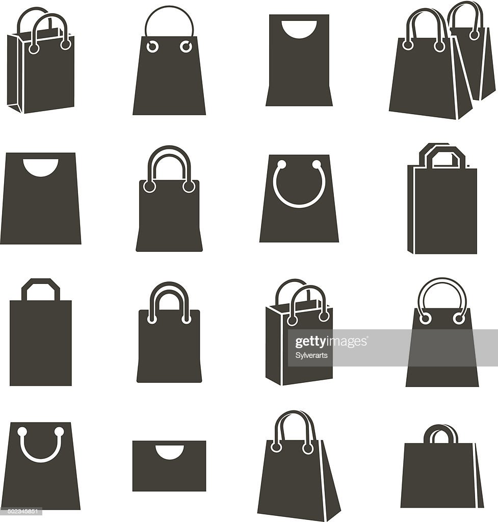 Shopping back icons isolated on white background