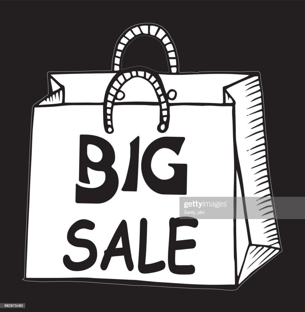 Shopping Bag Cardboard Drawing - Illustration Shopping
