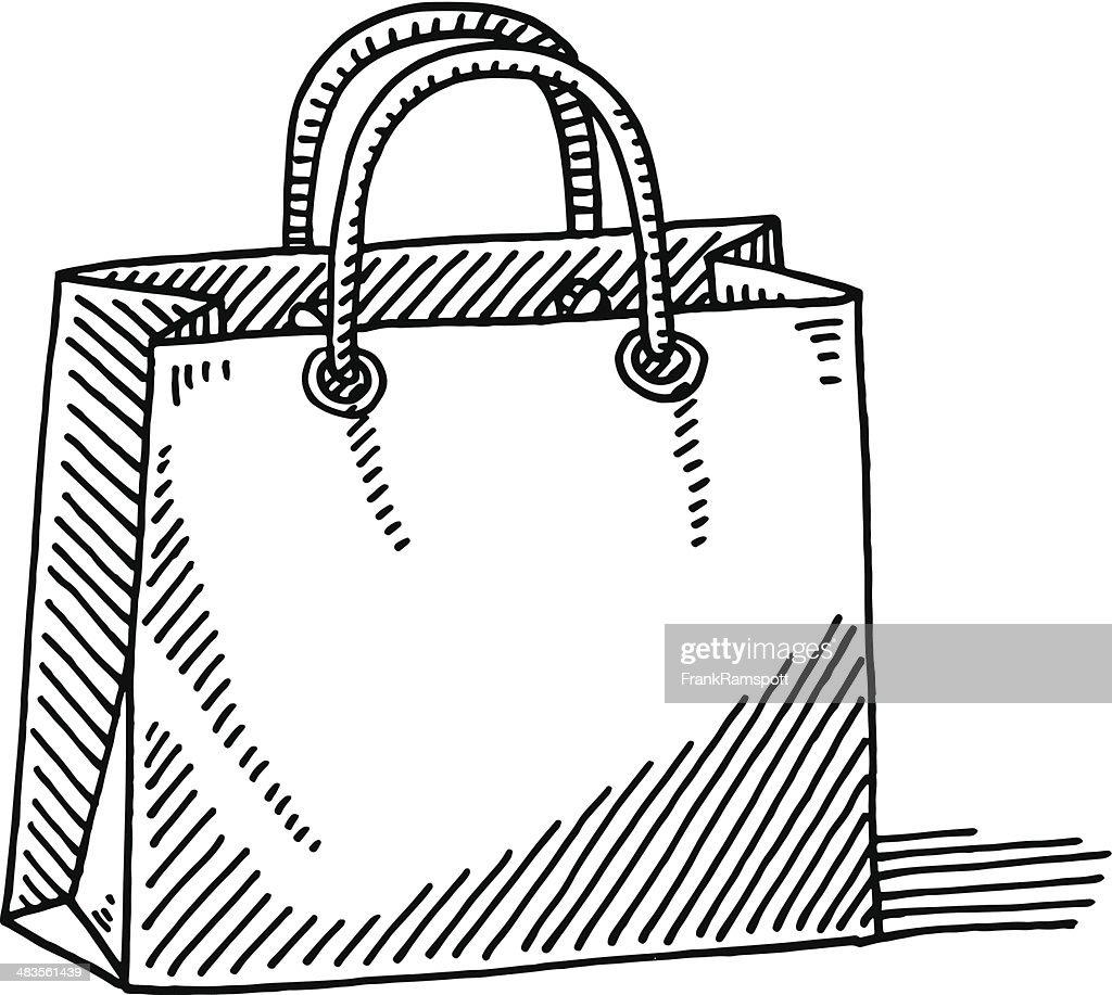 Shopping Bag Cardboard Drawing