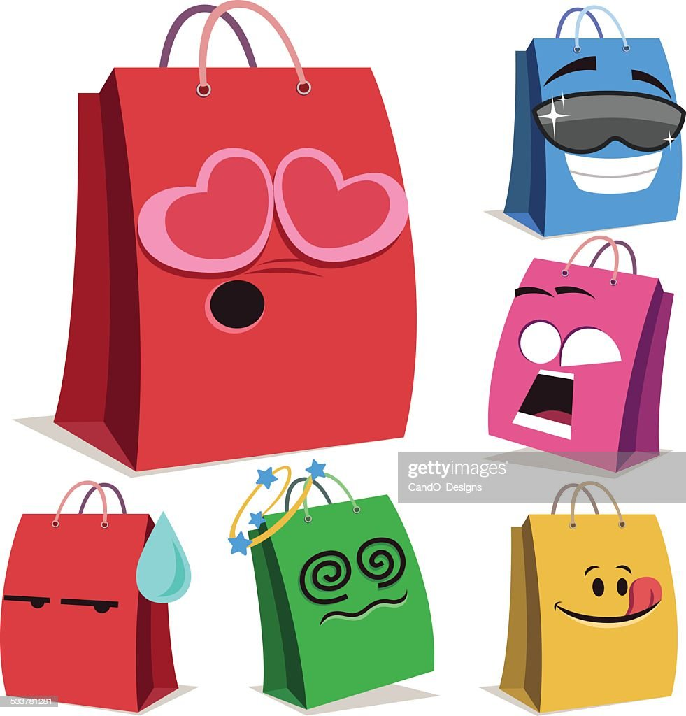 Shopping Bag Fumetto imposta : Illustrazione stock
