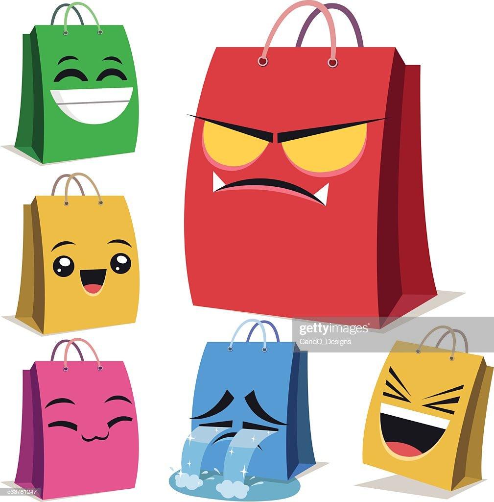 Shopping Bag Fumetto Serie B : Illustrazione stock