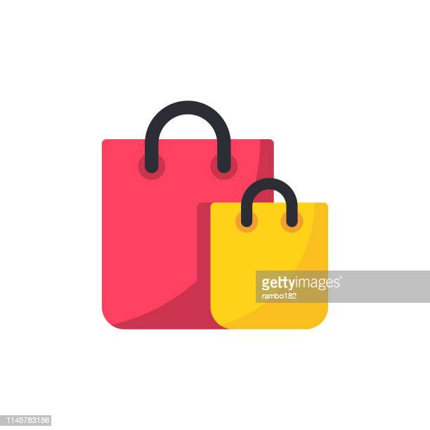 shopping bag flat icon. pixel perfect. for mobile and web. - retail stock illustrations