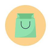 shopping bag Flat vector icon