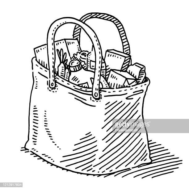 shopping bag grocery store drawing - frankramspott stock illustrations
