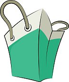 Shopping Bag Hand Drawn Colored Vector Icon
