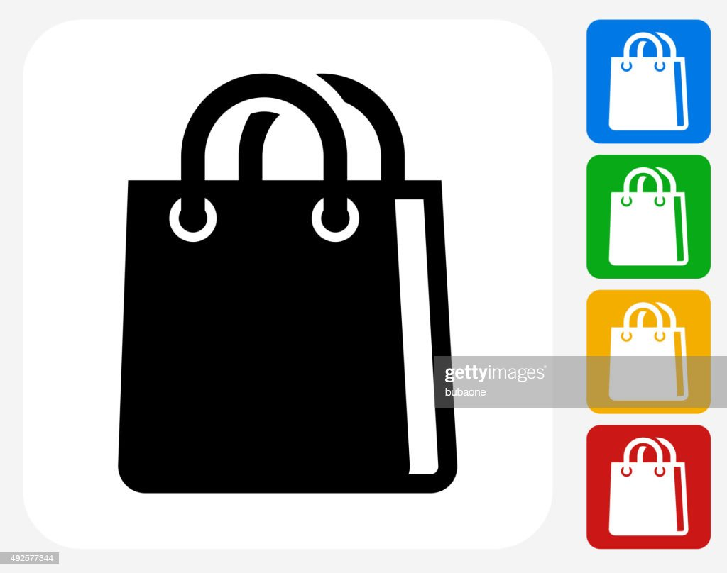 Shopping Bag Icon Flat Graphic Design