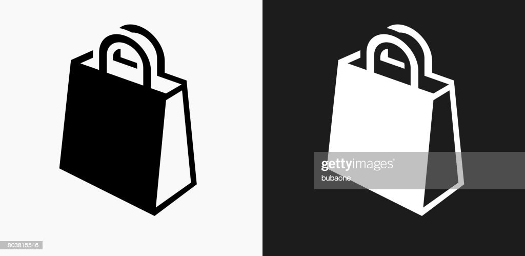 Shopping Bag Icon on Black and White Vector Backgrounds : stock illustration