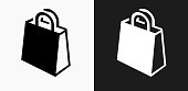 Shopping Bag Icon on Black and White Vector Backgrounds