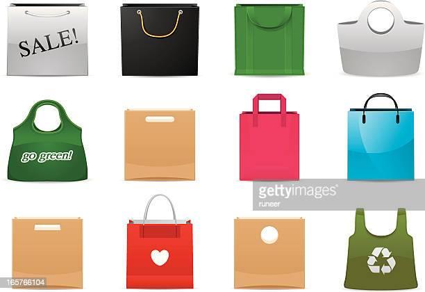 shopping bag icons | classic series - reusable bag stock illustrations