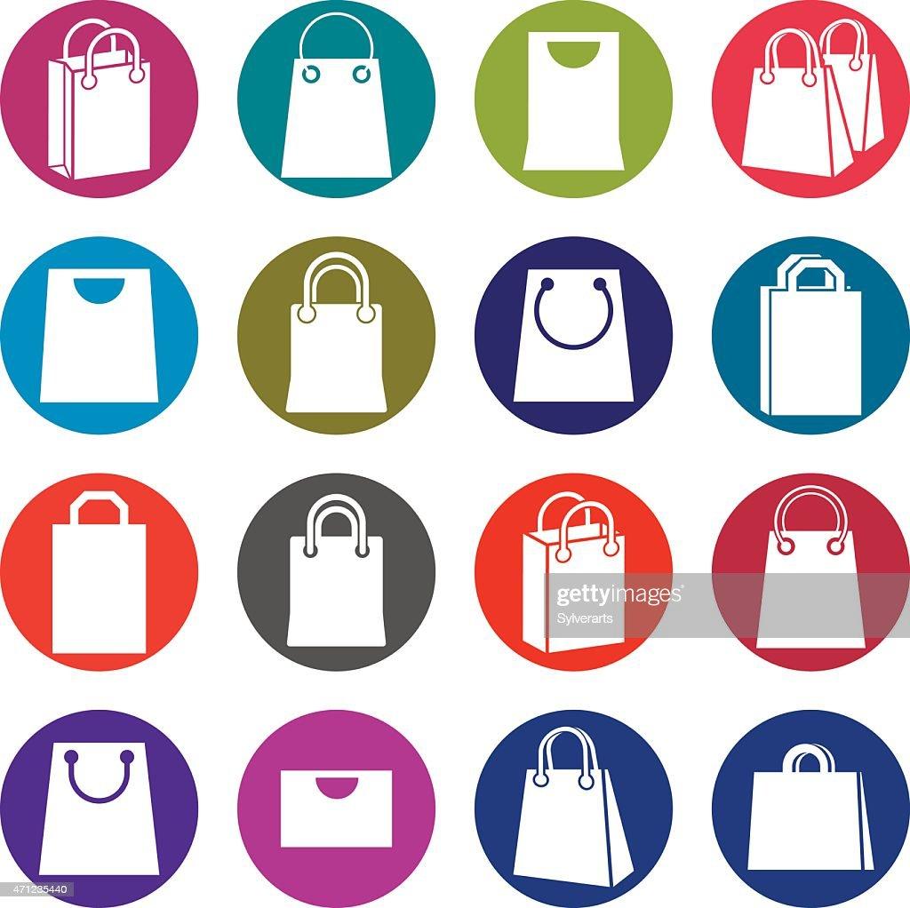 Shopping bag icons isolated on white background vector set