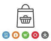 Shopping bag line icon. Supermarket buying sign.