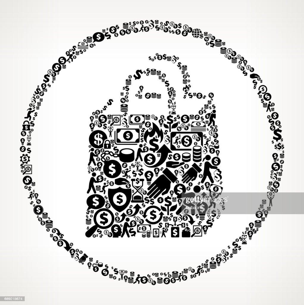 Shopping Bag  Money and Finance Black and White Icon Background : Stock Illustration