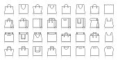 Shopping Bag simple black line icons vector set