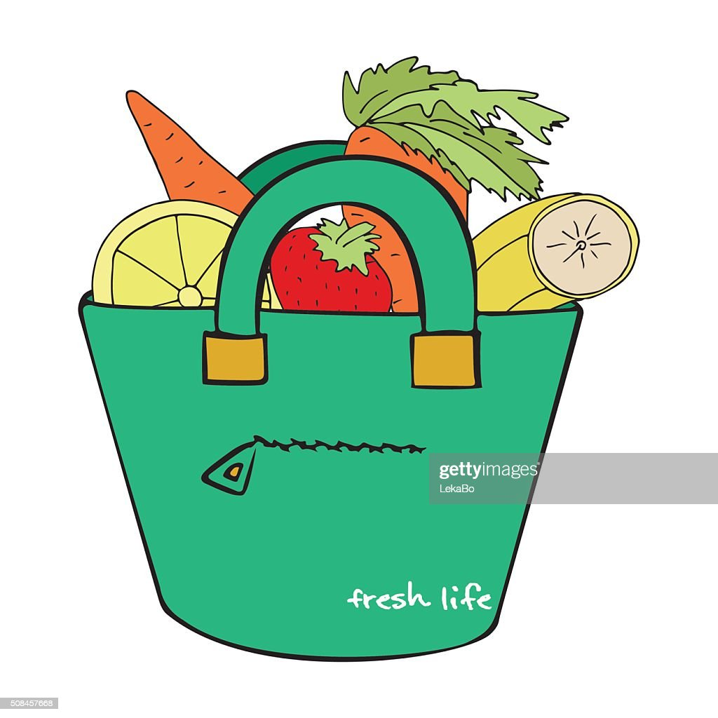 Shopping bag with fruit and vegetables - isolated vector