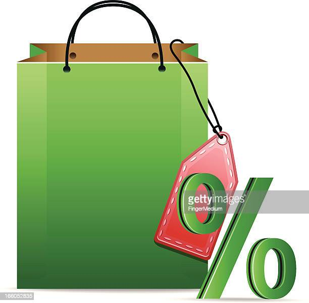 shopping bag with percentage sign - goodie bag stock illustrations, clip art, cartoons, & icons