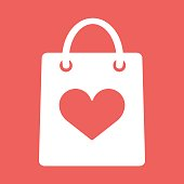 Shopping bag with shape of the heart icon
