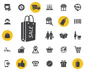 Shopping bag with the sale, discount symbol. Simple shopping icons set.