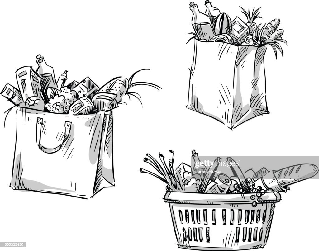 Shopping bags and basket. Vector illustration.