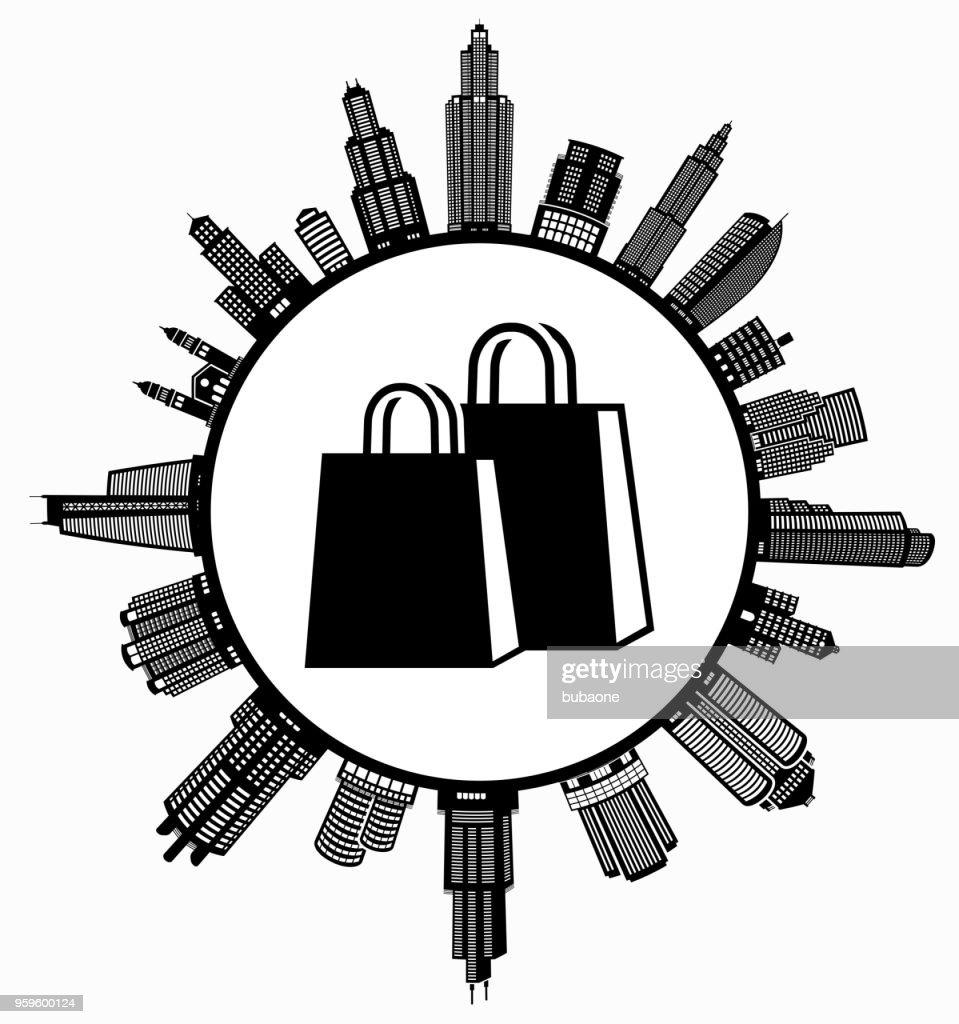 Shopping Bags  on Modern Cityscape Skyline Background : Illustrazione stock