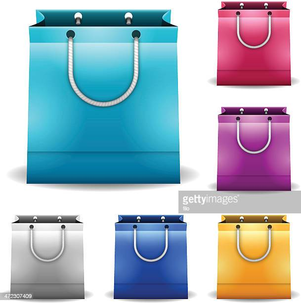 shopping bags - goodie bag stock illustrations, clip art, cartoons, & icons