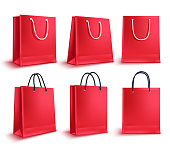 Shopping bags vector set. Red sale empty paper bags collection for fashion shopping