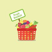 Shopping Basket Full of Fruits
