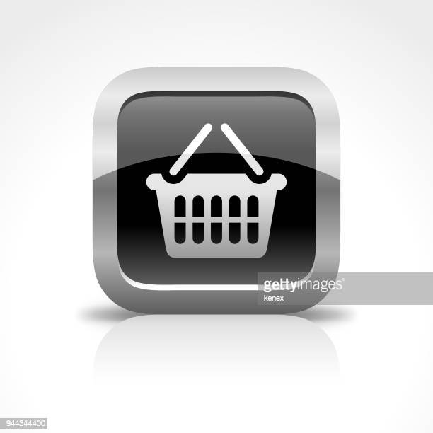 Shopping Basket Glossy Button Icon