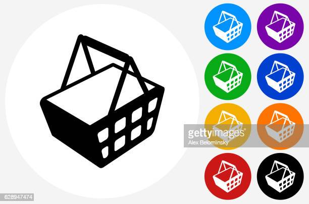 shopping basket icon on flat color circle buttons - shopping basket stock illustrations