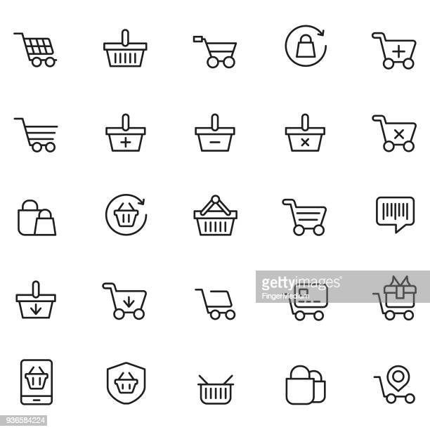 shopping basket icon set - shopping cart stock illustrations