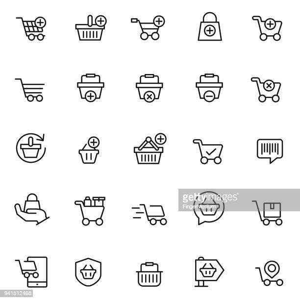 Shopping basket icon set