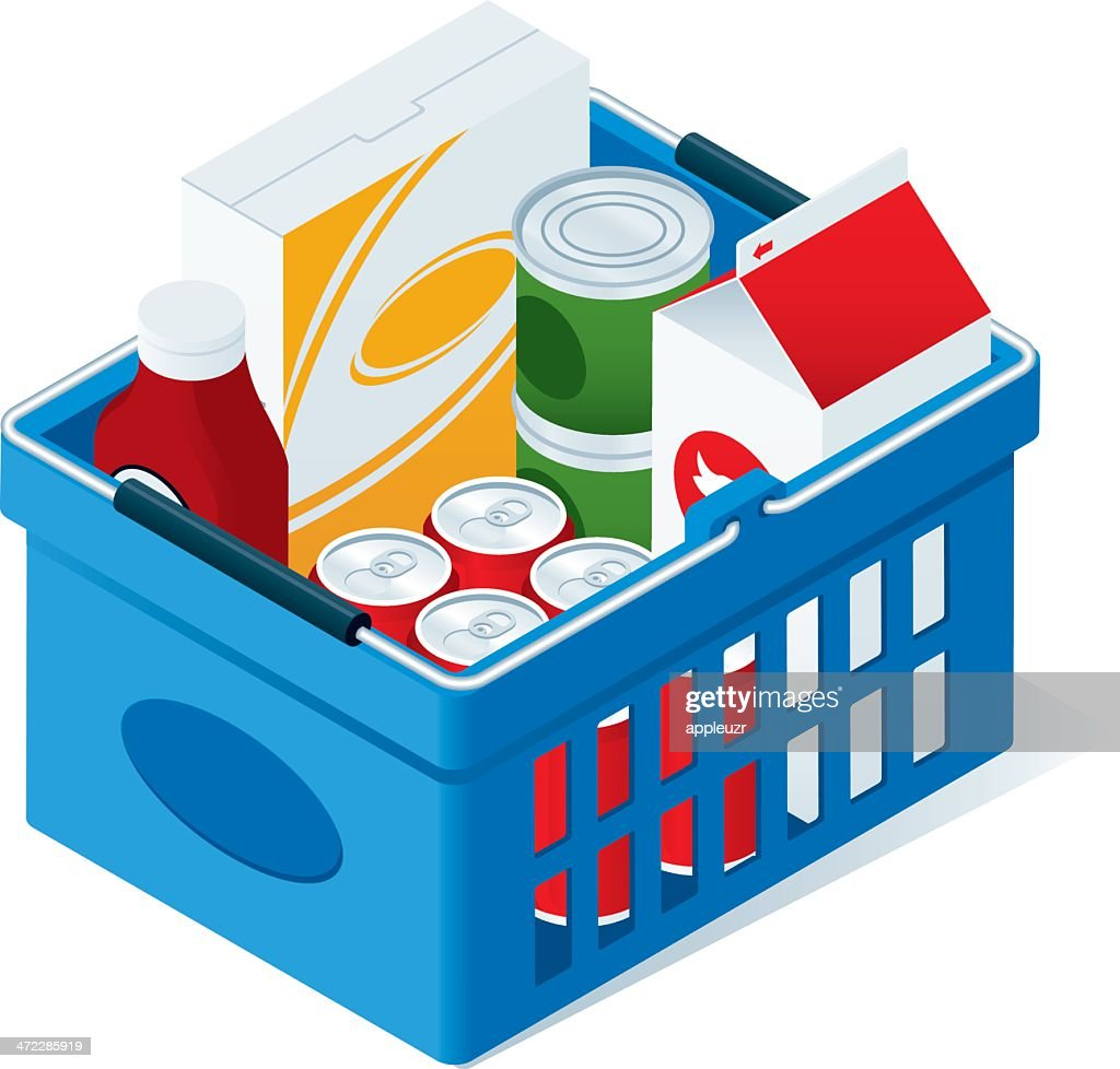 Shopping Basket With Groceries : stock illustration