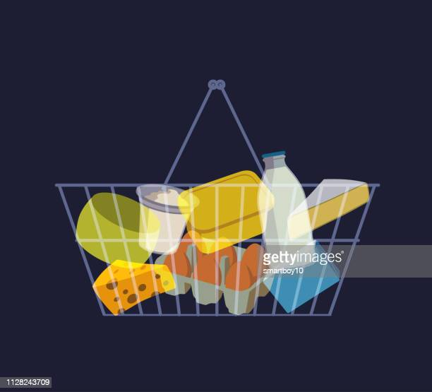 shopping basket with various dairy products - shopping basket stock illustrations