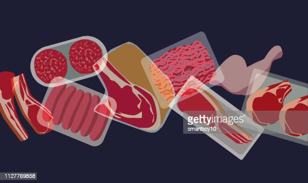 shopping basket/shopping trolley with various meat products - ground beef stock illustrations