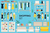 Shopping Big Collection in flat design background concept. Infographic Elements