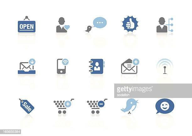 shopping & blogging icons | azur series - open sign stock illustrations, clip art, cartoons, & icons