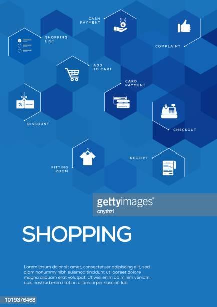 Ir de compras. Diseño plantilla de folleto, diseño de la cubierta