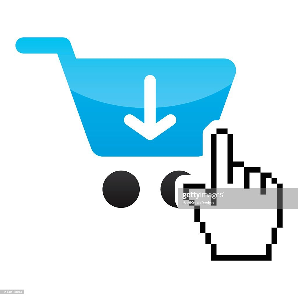 Shopping car glossy icon with cursor hand icon
