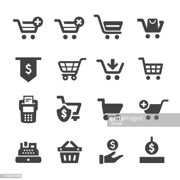 shopping cart and cashier icons - acme series - shopping cart stock illustrations