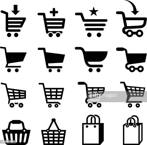 shopping cart and commerce royalty free vector icon set - shopping basket stock illustrations