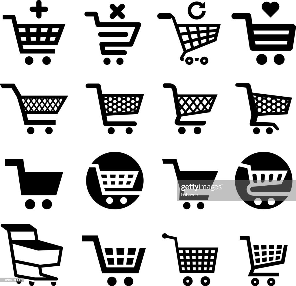 Shopping cart and commerce royalty free vector icon set