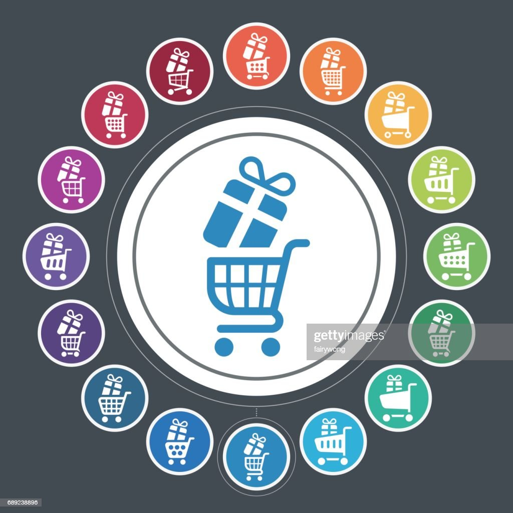 Shopping Cart and Presents icons : Stock Illustration