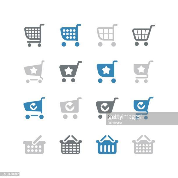 Shopping cart and shopping basket icons