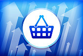 Shopping Cart Blue Up Arrows Background