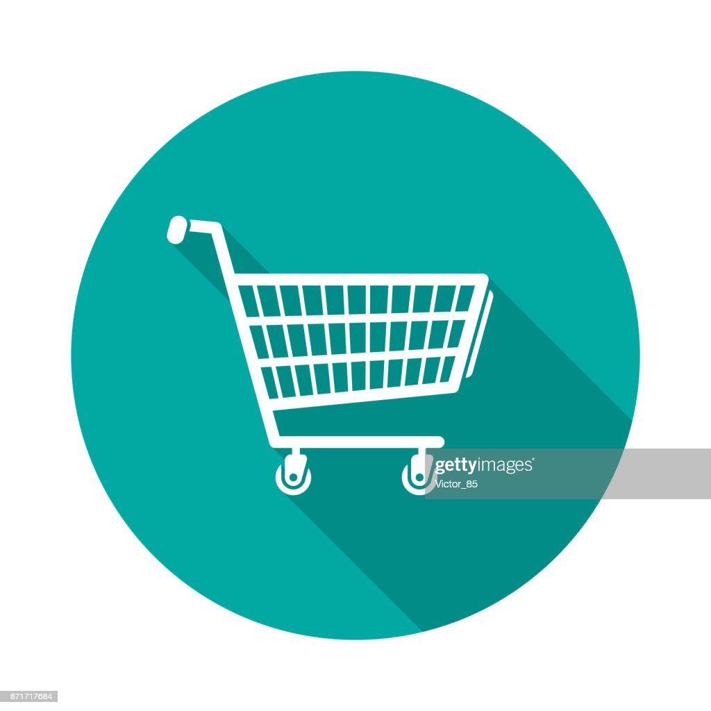 Shopping cart circle icon with long shadow. Flat design style.