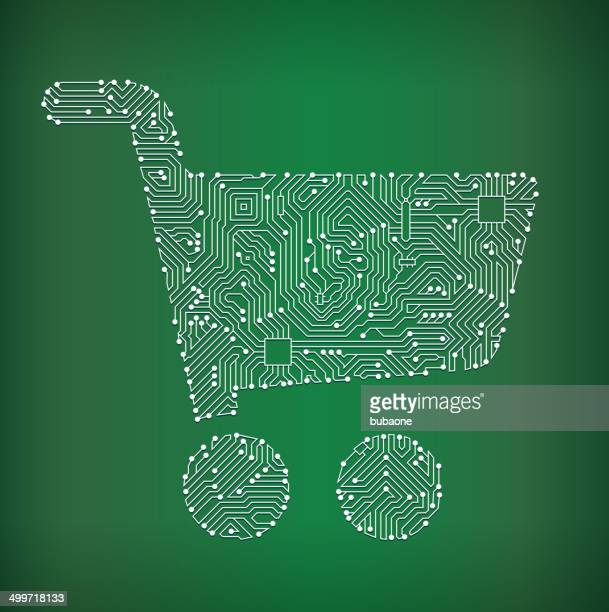 Shopping Cart Circuit Board royalty free vector art background