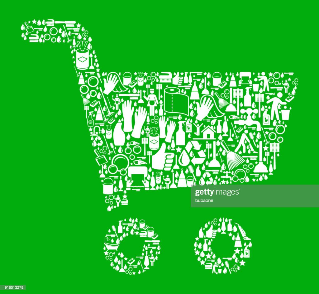 Shopping Cart  Cleaning Green Background Pattern : stock illustration