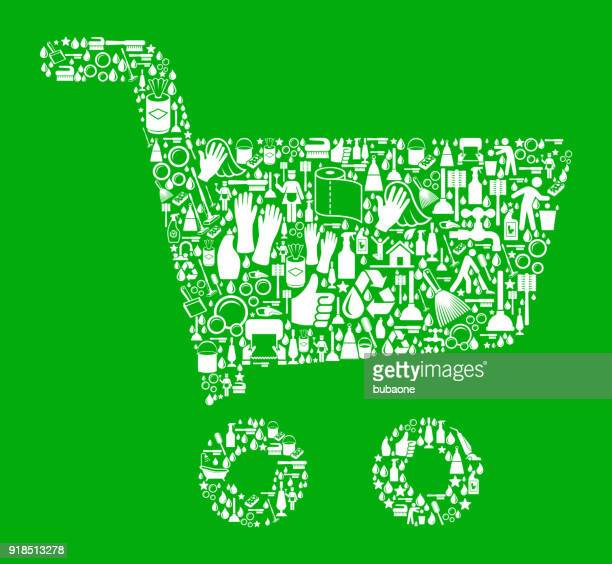 shopping cart  cleaning green background pattern - paper towel stock illustrations, clip art, cartoons, & icons