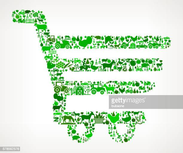 shopping cart farming and agriculture green icon pattern - buy single word stock illustrations, clip art, cartoons, & icons