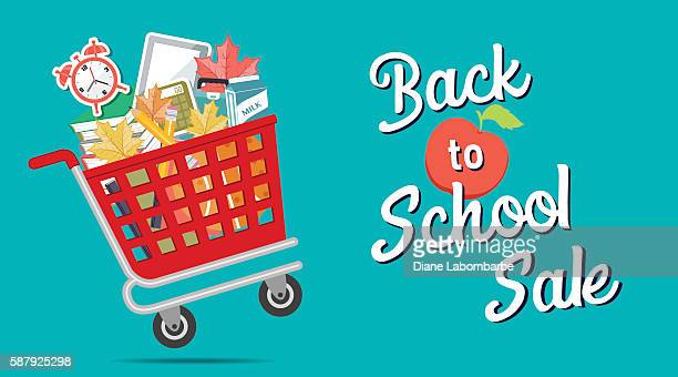 Shopping Cart Filled With Back To School Supplies and Text