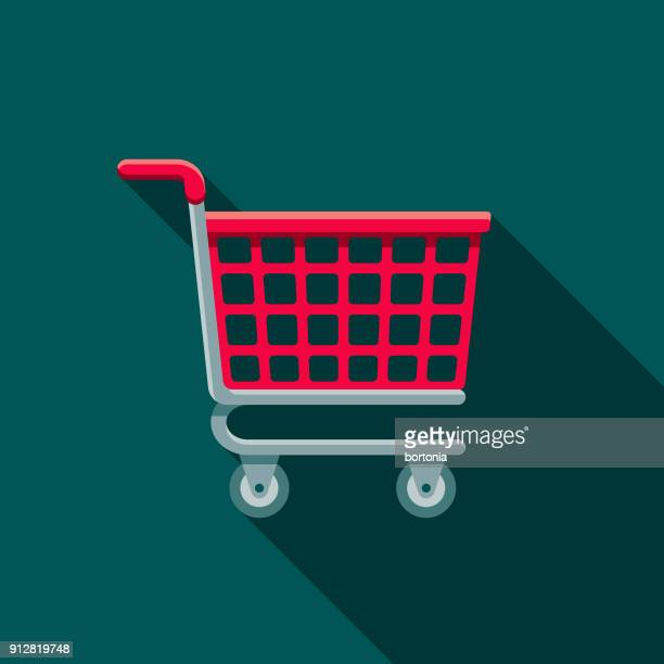 shopping cart flat design e-commerce icon - shopping cart stock illustrations